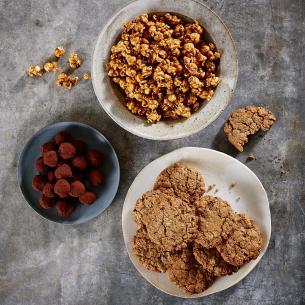 Oatmeal Cookies, Caramel Corm, Rosemary Truffles